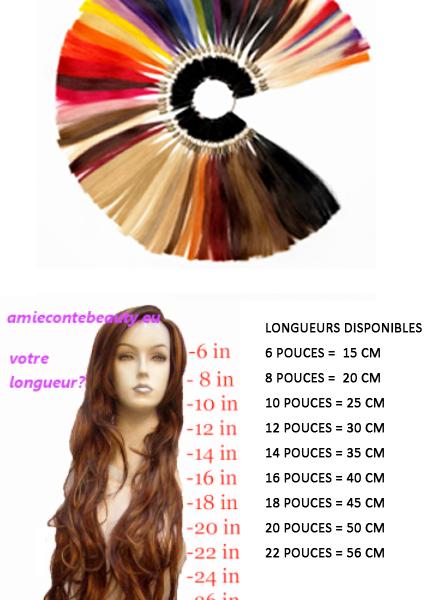 Longueur et couleurs pour mèches de tissage